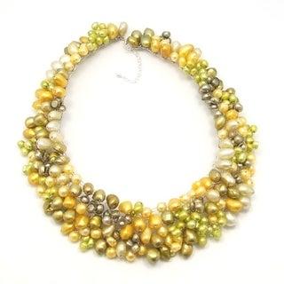 Handmade Freshwater Dyed Pearls Bib Necklace (Thailand)