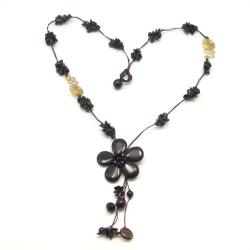 Long Drop Onyx Flower-Brass Deco Wax Rope Necklace (Thailand)