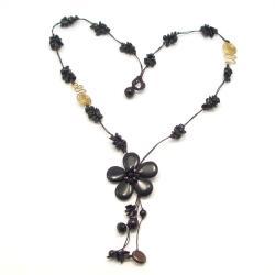 Handmade Long Drop Onyx Flower-Brass Deco Wax Rope Necklace (Thailand)