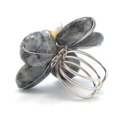 Black Labradorite Midnight Floral Handmade Free Size Ring (Thailand)