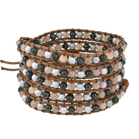 Handmade Bohemian Twilight Cultured Freshwater Pearls Quartz Leather Wrap Bracelet (Thailand)