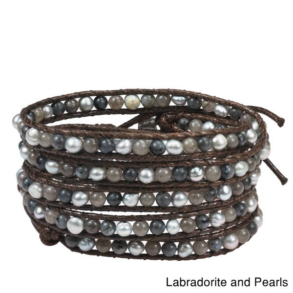 Handmade Natural Gemstone Snake Cord Leather 5-wrap Bohemian Style Bracelet (Thailand)