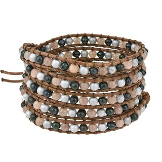 Handmade Bohemian Twilight Cultured Freshwater Pearls Quartz Leather Wrap Bracelet (Thailand)