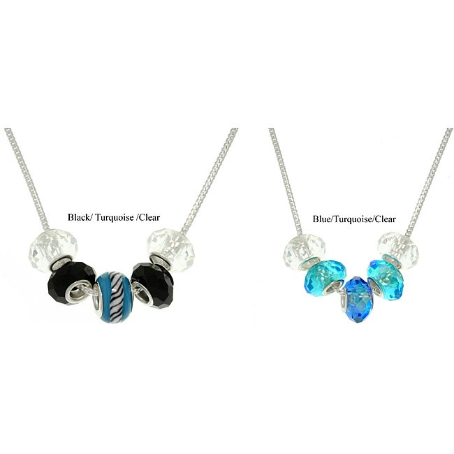 Carolina Glamour Collection Silverplated European-style Lampwork Glass and Crystal Bead Necklace