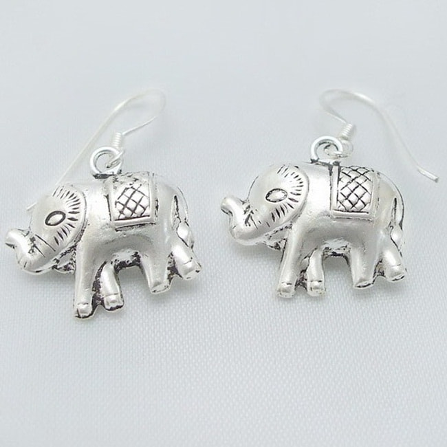 Detailed Elephant Dangle .925 Silver Earrings (Thailand) - Thumbnail 0