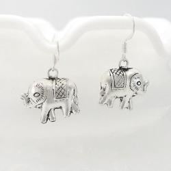 Detailed Elephant Dangle .925 Silver Earrings (Thailand) - Thumbnail 1