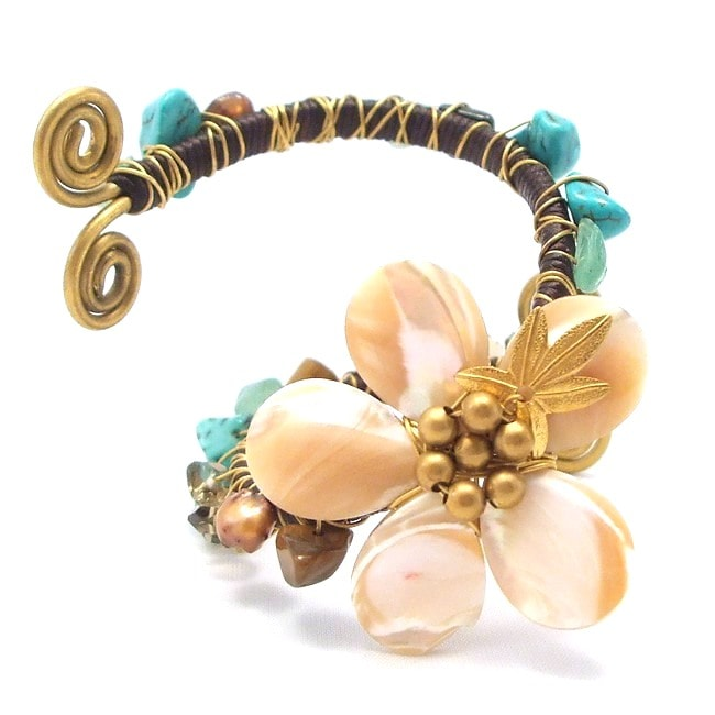 Handmade Floral Mother of Pearl Stone Embellished Swirl Cuff (Thailand)