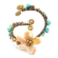 Handmade Floral Mother of Pearl Stone Embellished Swirl Cuff (Thailand) - Thumbnail 1