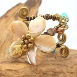 Handmade Floral Mother of Pearl Stone Embellished Swirl Cuff (Thailand) - Thumbnail 2