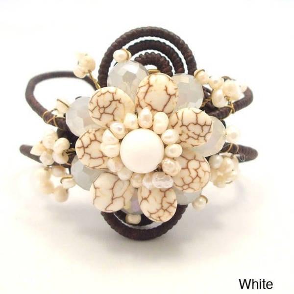 Handmade Flourishing Lotus White Turquoise Stone Cotton Rope Cuff (Thailand)