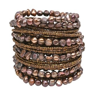 Handmade Mystique Brown Freshwater Dyed Pearl Wrap-Around Bracelet (Thailand)