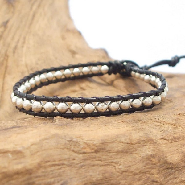 Cute Handmade Silver Beads Single Strand Leather Bracelet (Thailand)