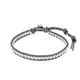 Cute Handmade Silver Beads Single Strand Leather Bracelet (Thailand)