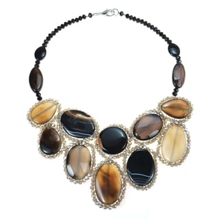 Round Multicolor Black Agate Mosaic Bib Statement Necklace (Thailand)