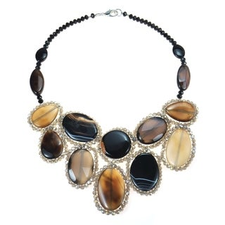 Handmade Round Multicolor Black Agate Mosaic Bib Statement Necklace (Thailand)