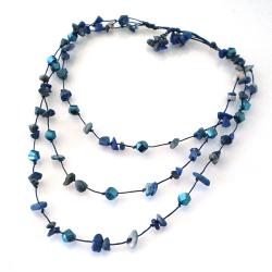 Triple Layer Purple Glamor Lapis-Cubic Crystal Cotton Rope Necklace (Thailand)