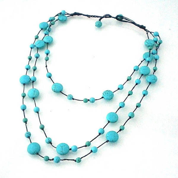 Handmade Triple Layer Floating Bubble Cotton Rope Necklace (Thailand)
