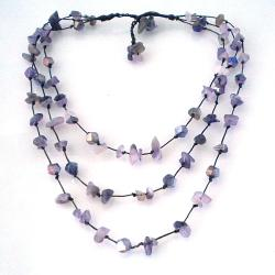 Handmade Triple Layer Purple Glamor Amethyst-Cubic Crystal Cotton Rope Necklace (Thailand)