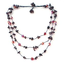 Handmade Triple Layer Red Glamour Garnet-Cubic Crystal Cotton Rope Necklace (Thailand)