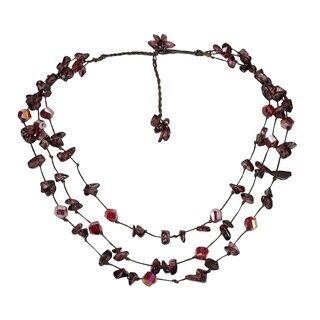 Handmade Beautiful Triple Layer Chunky Stone Necklace (Thailand)