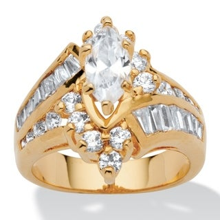 3.20 TCW Marquise-Cut Cubic Zirconia 14k Yellow Gold-Plated Ring Glam CZ