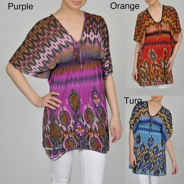 Jessica Taylor Women's Abstract Border Print Butterly Body Tunic