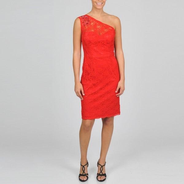 Oleg Cassini Women's All-Over-Lace One-shoulder Dress