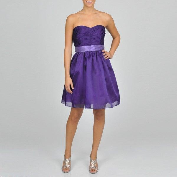 Oleg Cassini Women's Purple Strapless Party Dress