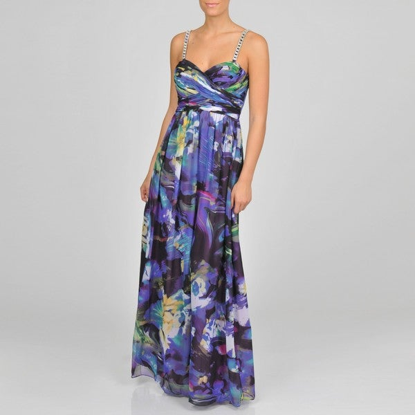 Oleg Cassini Women's Purple Multi Abstract Floral Dress