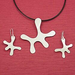 Handmade Alpaca Silver 'Asymmetry' Necklace and Earrings Set (Mexico)