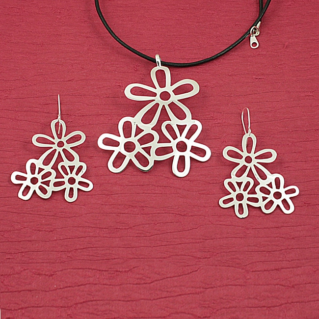 Handmade Alpaca Silver 'Floral Trio' Necklace and Earrings Set (Mexico)