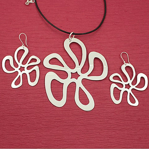Handmade Alpaca Silver 'Dancing Flora' Necklace and Earrings Set (Mexico)