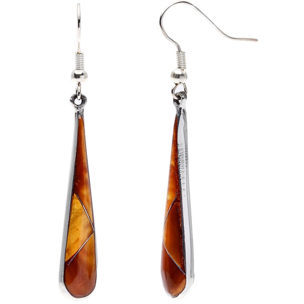 Handmade Teardrop Tiger Eye and Alpaca Silver Earrings (Mexico)