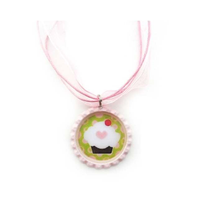 Cupcake Bottle Cap Necklace