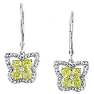 Miadora 14k White Gold 1ct TDW Yellow and White Diamond Earrings