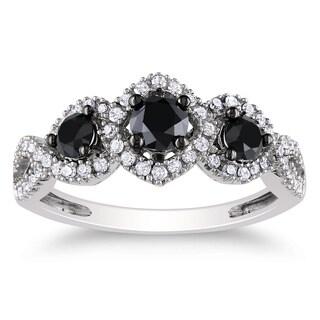 Miadora 10k White Gold 1 CT TDW Black and White Diamond Halo Ring