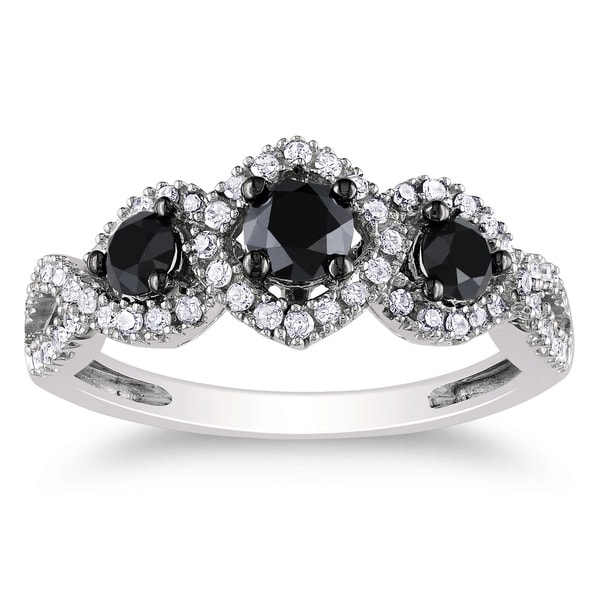 Miadora 10k White Gold 1 CT TDW Black and White Diamond Halo Ring