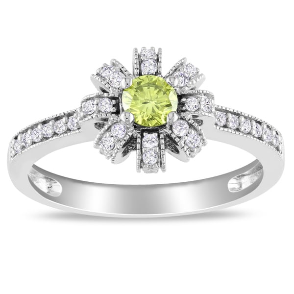 Miadora 14k White Gold 1/2ct TDW Yellow and White Diamond Ring