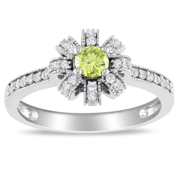 Miadora 14k White Gold 1/2ct TDW Yellow and White Diamond Ring (H-I, I1-I2)