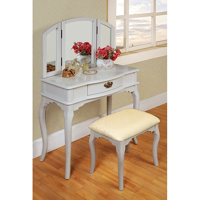 White Tri Mirror Vanity Free Shipping Today Overstock Com 14170904