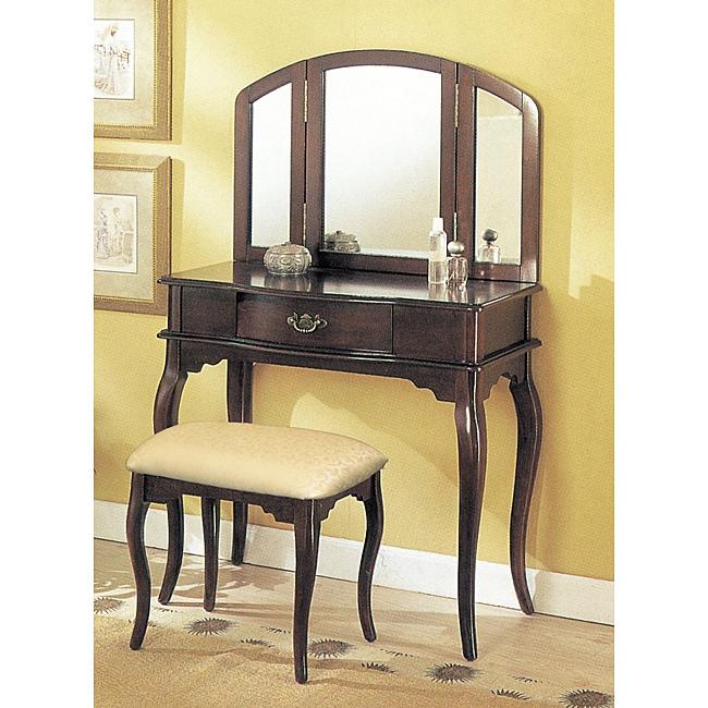 Fujiyama Espresso Tri-mirror Vanity (Espresso Vanity), Brown