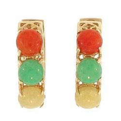 Mason Kay 14k Yellow Gold Multi-colored Jadeite Hoop Earrings