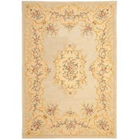 Safavieh Handmade Light Green/ Beige Hand-spun Wool Rug - 5' x 8'