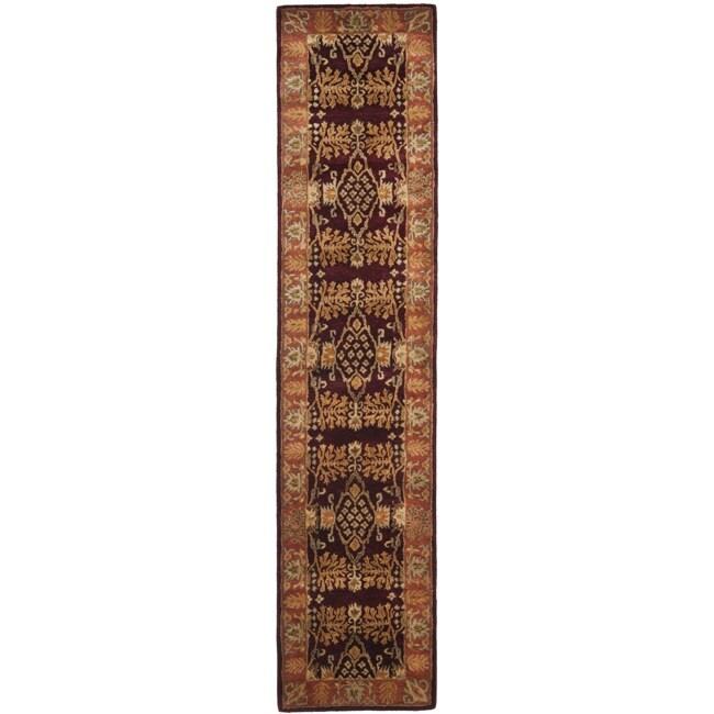 Safavieh Handmade Tree Dark Red/ Rust Hand-spun Wool Rug (2'3 x 10')