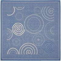 "Safavieh Ocean Swirls Blue/ Natural Indoor/ Outdoor Rug - 6'7"" x 6'7"" square"