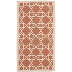 Safavieh Courtyard Geometric Trellis Terracotta/ Beige Indoor/ Outdoor Rug (2'7 x 5')