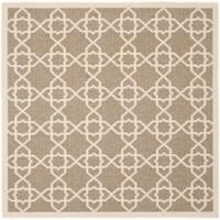 """Safavieh Courtyard Geometric Trellis Brown/ Beige Indoor/ Outdoor Rug - 6'7"""" x 6'7"""" square"""