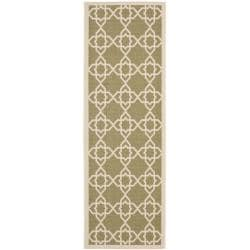 Safavieh Courtyard Geometric Trellis Green/ Beige Indoor/ Outdoor Rug (2'4 x 9'11)