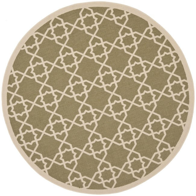 Safavieh Courtyard Geometric Trellis Green/ Beige Indoor/ Outdoor Rug (6'7 Round)