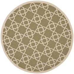 "Safavieh Courtyard Geometric Trellis Green/ Beige Indoor/ Outdoor Rug - 6'7"" x 6'7"" round - Thumbnail 0"